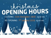 Holiday Season OPENING & CLOSING tIMES